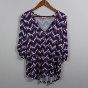 Pixley Purple, Navy Blue, Gray, and White Top